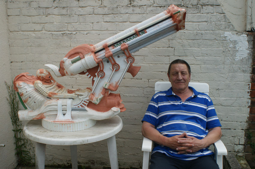 Dave Tootill sat with the un-finished, scratch built, Space Jockey model