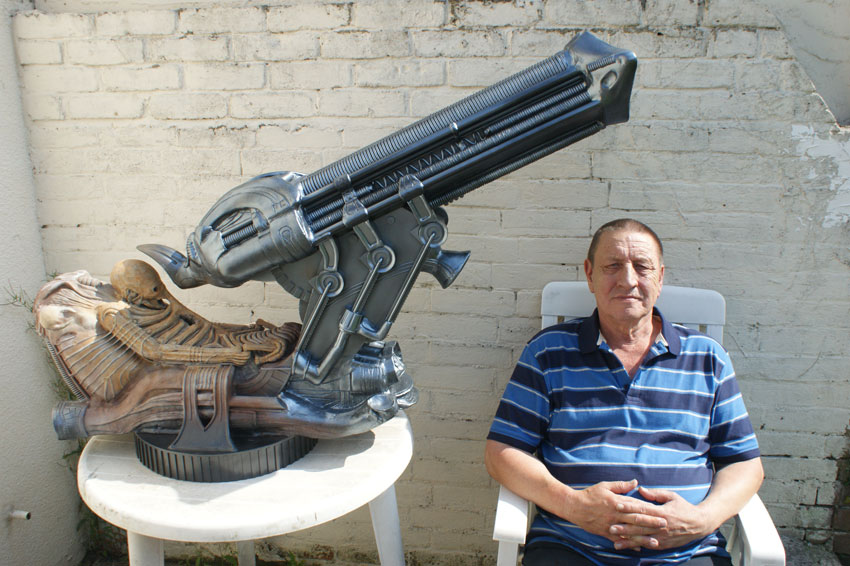 Dave Tootill sat with the finished scratch built, Space Jockey model approximately 2 years later.